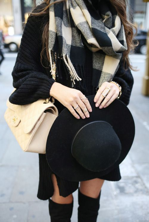 winter-fashion-plaid-scarf-knit-dress